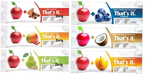 That's it Zesty Mix, Pack of 12, (2 Apple+Blueberry, 2 Apple+Coconut, 2 Apple+Apricot, 2 Apple+Pear&Ginger, 2 Apple+MangoesΧli, 2 Apple+Cinnamon) (Fruit Chili compare prices)