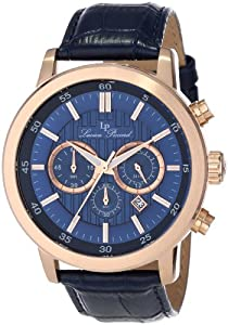 "Lucien Piccard Men's 12011-RG-03 ""Monte Viso"" Stainless Steel Blue Textured Dial and Dark Blue Leather Watch"