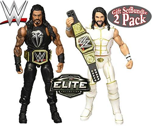 WWE Elite Collection Seth Rollins & Roman Reigns Wrestling Figures Gift Set Bundle - 2 Pack