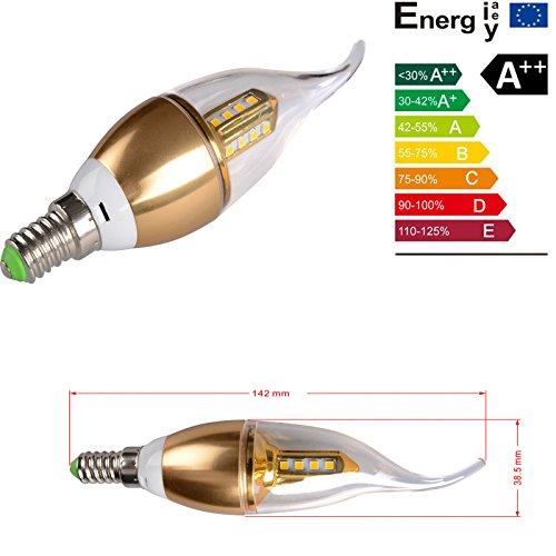 Minkle® 9W E14 LED Kerze Lampe Downlight Leuchte Kronleuchter Kugel-Birne (1, Kaltweiß mit goldenem Gehäuse)