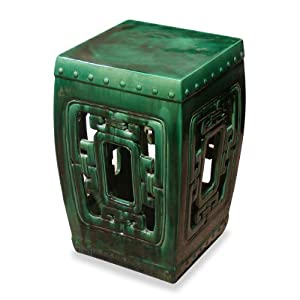 Amazon.com: Porcelain Garden Stool - Emerald Green Temple Garden ...