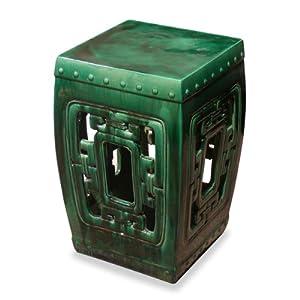 Amazon.com: Porcelain Garden Stool - Emerald Green Temple Garden ...