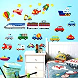 Self Adhesive PVC Removable Wall Stickers - Toy cars, planes, boats and other vehicles - Ideal for Childrens Bedroom or Nusery