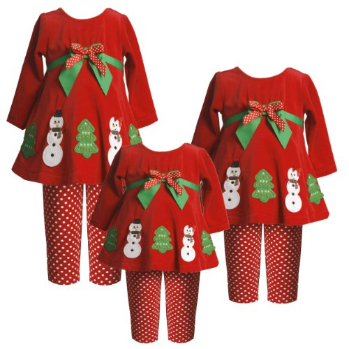 Size-24M BNJ-7527X 2-Piece RED 'Snowboy-Snowgirl' APPLIQUE Special Occasion Christmas Holiday Tunic-Dress/Legging Set,X17527 Bonnie Jean BABY/INFANT