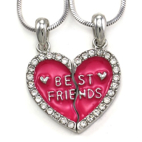 Best Friends Forever BFF Pink Heart Necklace Pendant Enamel Engraved    Three Best Friends Forever Necklace