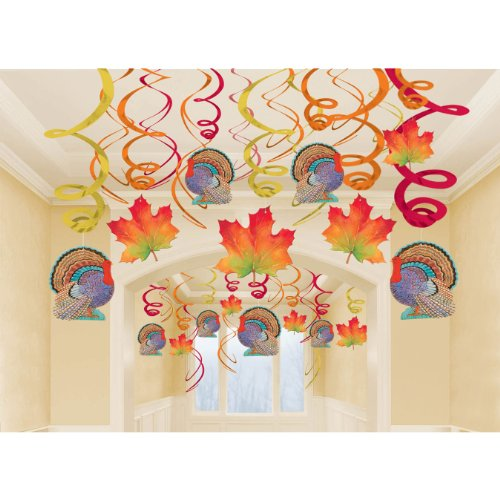 Amscan Thanksgiving Hanging Swirls Mega Value Pack Multi-colored Medium