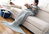 Casofu174; Green and Gray Mermaid Tail Blanket,Adult Thick Mermaid Tail Blanket Snuggle Mermaid