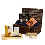 The Gentlemans Taylors Port Selection & Stilton Cheese with Nibbles Christmas Gift Hamper in Luxury Brown Wicker Gift Basket