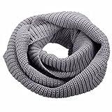 NEOSAN Womens Thick Ribbed Knit Winter Infinity Circle Loop Scarf Light Grey