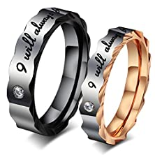 "buy Zarbrina His & Hers I Will Always Be With You"" Black & Rose Gold Plated Stainless Steel Rhinestone Cz Rings Engagement Ring Size 11"