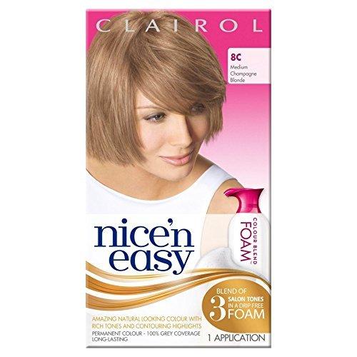 3-x-clairol-nicen-easy-permanent-colour-blend-foam-8c-medium-champagne-blonde