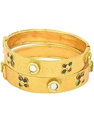 JFL- Traditional & Evergreen One Gram Gold Plated Kundan Designer Bangle Set For Women.