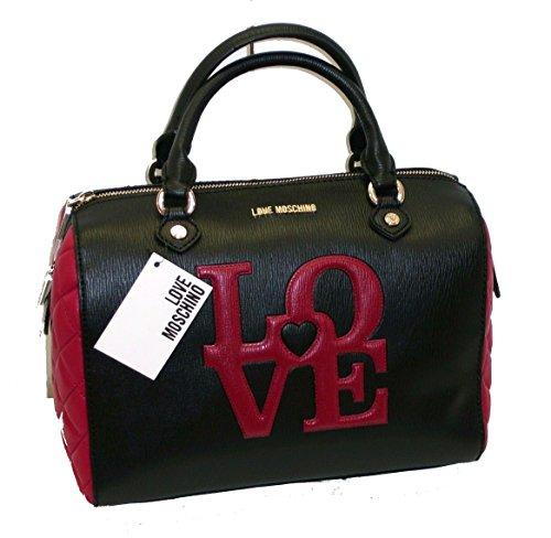 Borsa Love Moschino JC4055 woman baulotto media saffiano pvc love nero-rosso