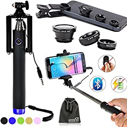 EEEKit Selfie Kit for Apple iPhone 6/6S Plus Galaxy S7/S6 Edge Note 7/5 LG HTC,Wired Stick Monopod,Fish-Eye/Marco/Wide Angle Lens(Detachable)