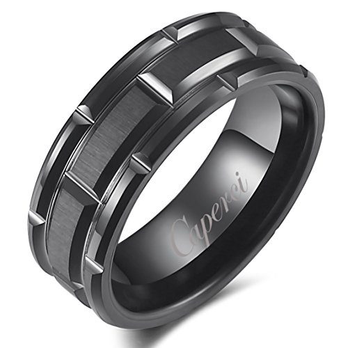 Caperci Men's 8mm Matrix Brick Pattern Black Tungsten Wedding Band Ring Size 8-13