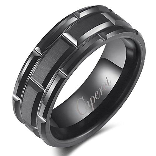 Caperci Men's 8mm Matrix Brick Pattern Black Tungsten Wedding Band Ring Size 8-13