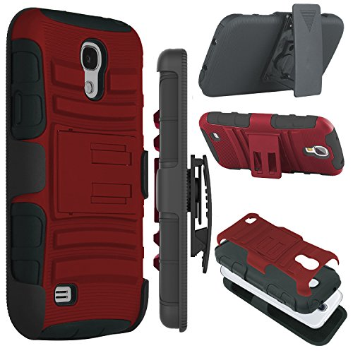 Galaxy S4 Case, Zenic(TM) Hybrid Dual Layer Armor Defender Full-body Protective Case Cover with Kickstand & Belt Clip Holster Combo for Samsung Galaxy S4 i9500 (Red/Black) (Samsung S4 Mini Case Red compare prices)