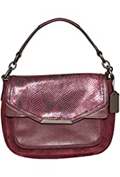 Coach Women's Taylor Suede Python Embossed Leather Flap Handbag, Sherry