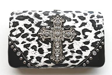 Animal Print Hard Case Clutch Wallet Organizer for Women with Rhinestones & Cross