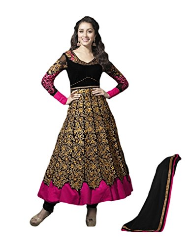 Pinkshink Womens Georgette Anarkali Unstitched Dress Material (Shk1109 _Black)
