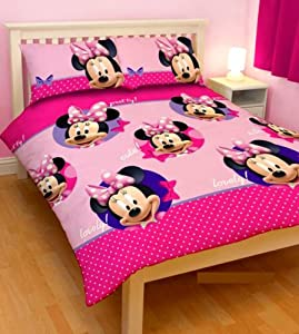 parure de lit 2 personnes housse de couette double 200 x 200 cm 2 taies minnie mouse disney. Black Bedroom Furniture Sets. Home Design Ideas