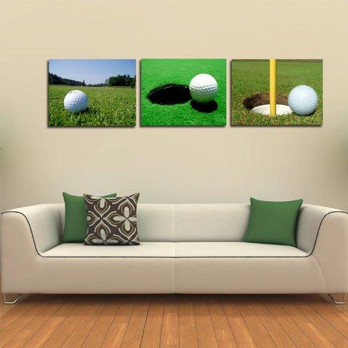 3 Panels Modern Home Decoration Canvan Prints Wall Painting Art Golf Sport 50*50cm #03-JD-91152