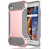 Rosepark LG Tribute HD Case, LG X Style Case, LG Volt 3 Case, Dual Layer Hybrid High Impact Resistant Armor Defender Shockproof Case Cover for LG X Style/Volt 3/Tribute HD(Rose Gold+Grey) (Color: Rose Gold+grey, Tamaño: LG X Style / Volt 3 / Tribute HD)