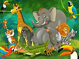 Jungle animals wall decoration - Mural jungle and animals Motif - XXL wallpaper for child\'s room/nursery by GREAT ART (55 Inch x 39.4 Inch)