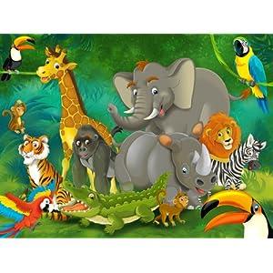 Nursery murale 200 x 140 Cartoon jungle Giungla Animali Bambini carta da parati  Nursery deco della parete XXL Poster Bambini Wallpaper  Prima infanzia recensioni dei clienti