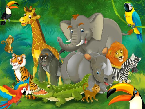 Jungle animals photo wall paper - jungle and animals mural - XXL jungle wall decoration nursery 132.3 Inch x 93.7 Inch