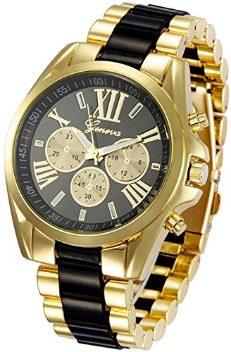 Fanmis Roman Numeral Gold Plated Metal Nylon Link Analog Disply Watch – Black