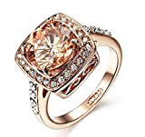 Yellow Shinning Cubic Zirconia Topaz Rings For Women 18K Rose Gold