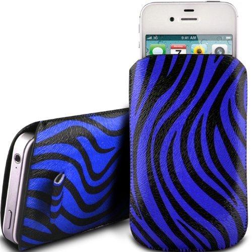 N4U Online Blue Zebra Premium Pu Leather Pull Flip Tab Case Cover Pouch For Samsung Galaxy S Blaze 4G T769