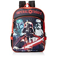 Star Wars Boys' Disney Red 16 Inch Backpack with Detachable Lunch Bag, Multi, One Size