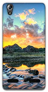 The Racoon Grip Mountain River hard plastic printed back case / cover for Lenovo A6000