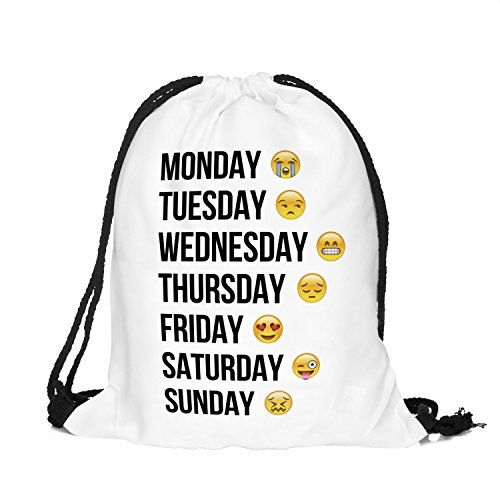 Emoji Week settimana Emoticons Smileys Stringbag sacchetto di iuta Turn sacchetto borsa sportiva Hipster Sacca Borsa a tracolla Loomi Loo Swag, bianco