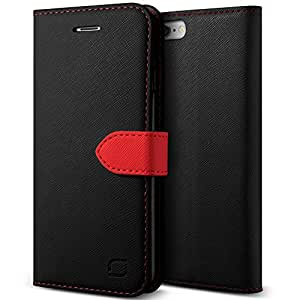 iPhone 6S Plus Case, Lific [Saffiano Diary][Black/Red] - [Card Slot][Flip][Heavy Duty][Kickstand][Slim Fit][Wallet] - For Apple iPhone 6 Plus and iPhone 6S Plus 5.5 Inch Devices