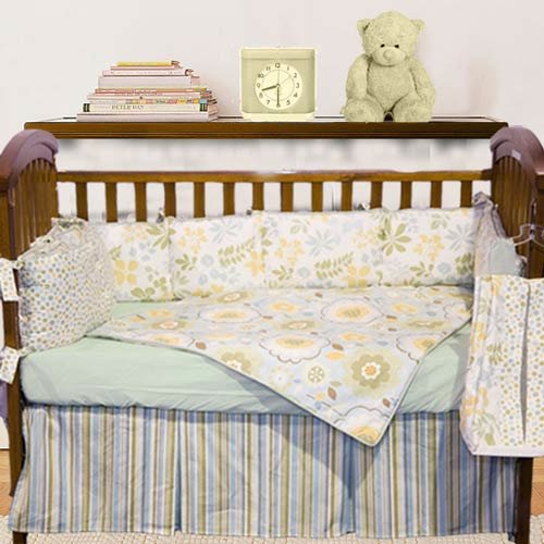 Baby Doll Bedding Botanic Garden Crib Bedding Set, Green