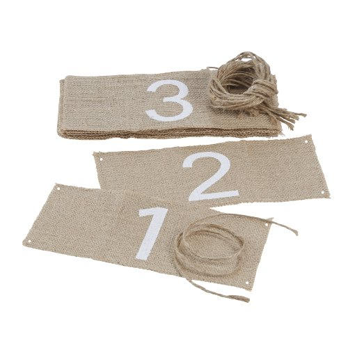Ginger Ray Vintage Affair Hessian Burlap Wedding Table Number Wrap (12 Pack), Brown (Burlap Number compare prices)