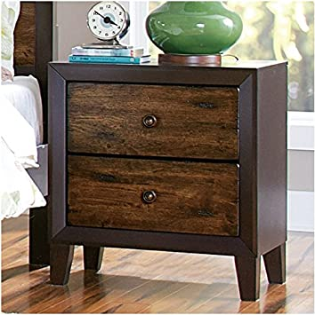 Espresso Drifted Oak 2-drawer Nightstand