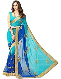 Women's Faux Georgette Ethnic Saree With Blouse Piece Material Present By Panchratn
