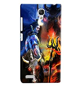 Blue Throat Shiv Bhole Effect Printed Designer Back Cover/ Case For Xiaomi Redmi Note Prime