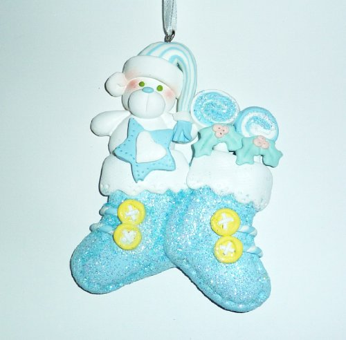 Ornament, Christmas - Baby, Blue Stockings, Personalized front-711291