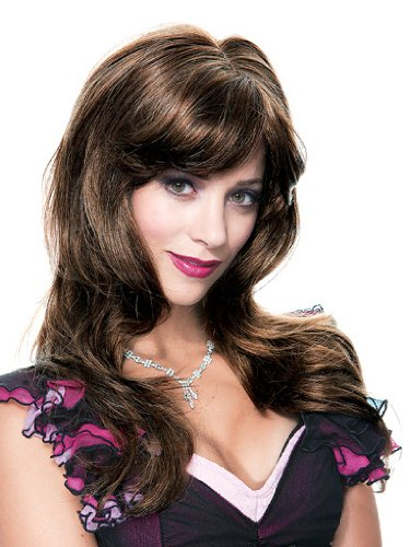 High Quality Brown Wavy Wig Bangs Long Flowing Hair Great For Theatrical Productions