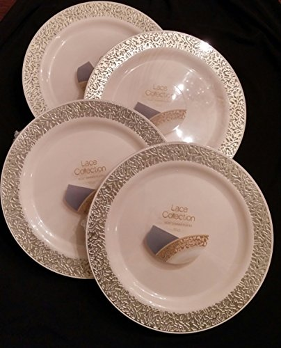 lace collection 40 pack premium china like 75 inch like real plastic plates includes 4 packs of