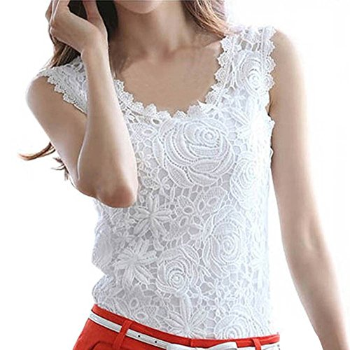 Fedi Elegant Fashion Summer Women Lace Crochet Vest Tank Top Shirt Blouse Sleeveless, White, Medium (White Lace Tank compare prices)