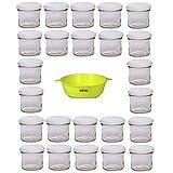 Viva Haushaltswaren G1130125/24T/bianco/X - Vasetti per marmellata piccoli con tappo, 24 pezzi, capacità: 125 ml, imbuto incluso, chiusura ermetica, colore tappo: bianco, colore imbuto: giallo