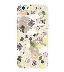 Grey White Flower Pattern 3D Hard Polycarbonate Designer Back Case Cover for Apple iPhone 6s Plus :: Apple iPhone 6s+