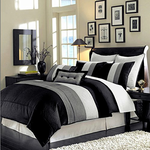 Review Of 8 Piece Luxury Bedding Regatta comforter set Black / Grey / White Queen Size Bedding 94&qu...