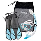 Seavenger Adult Diving Snorkel Set- Dry Top Snorkel / Trek Fin / Single Len Mask / Gear Bag- Blue/red/yellow/black/bs (Gray/Dodger Blue, S/M - Size 4.5 to 8.5)